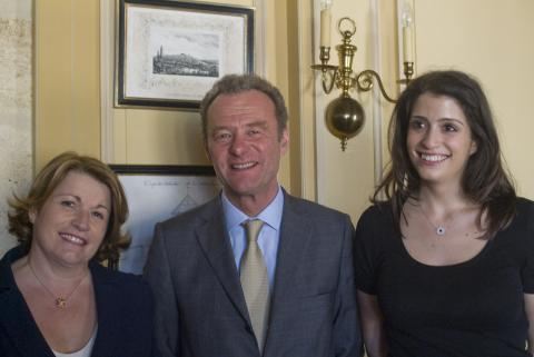 Corinne Mentzelopoulos, Paul Pontallier, Alexandra Mentzelopoulos, Château Margaux: Keen to bring the younger generation on at Chateau Margaux, Corinne Mentelopoulos introduced winemaker Paul Pontallier's son, Thibault, at the tasting, and her daughter Alexandra. Pontallier described Château Margaux as a 100-year wine and its second wine, Pavillon Rouge, as the best ever. Amazingly, Château Margaux, 90% cabernet sauvignon, 7% merlot and 1.5% each cabernet franc and petit verdot, is only 13.5% alcohol. Barrel samples tasted at the château were wonderfully complete and elegant, Pavillon Rouge too.