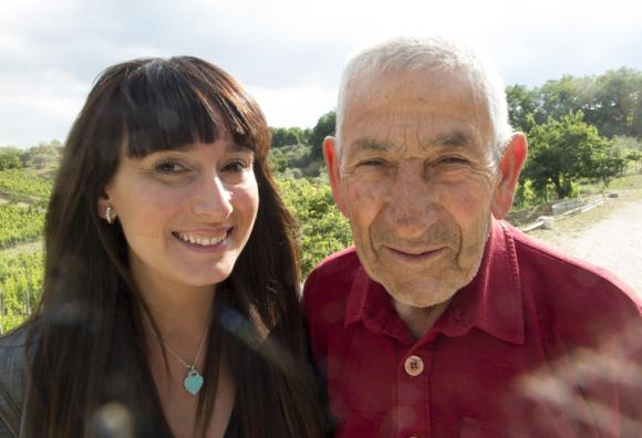 Elena Fucci with her grandfather in her Mount Vulture vineyards